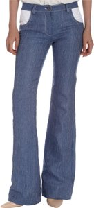 Thakoon Denim Linen Eyelet Trouser/Wide Leg Jeans-Light Wash