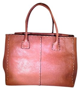 Adrienne Vittadini Leather Stiched Handheld Fashion Tote in Caramel