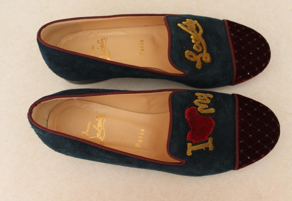 christian louboutin loafers Blue suede quilted velvet cap toes ...