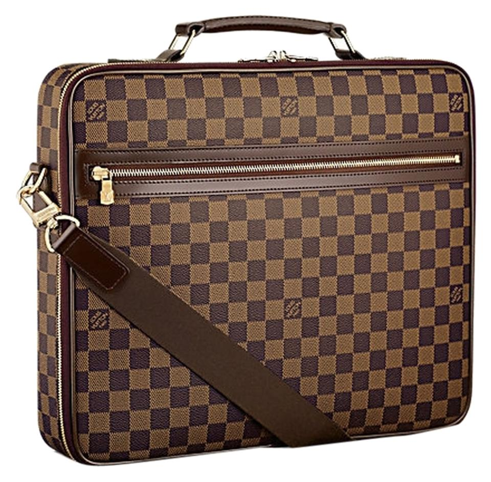 Louis Vuitton Computer Case Sabana Chocolate Damier Canvas Laptop ... 436f6dec8f6f1