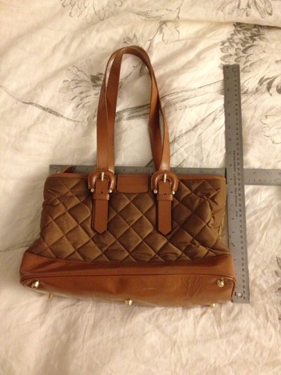 Burberry Nylon Quilted Patent Leather Gold Hardware Tan Tote in Beige, Brown