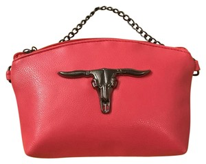 Private Edgy Gunmetal Ox Skull pink Clutch