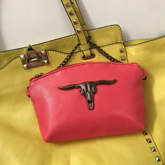 Private Edgy Gunmetal Ox Skull pink Clutch Image 1