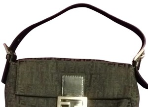 Fendi Vintage Patent Leather Canvas Monogram Black Clutch