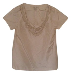 J.Crew Bea Beaded Silk Top Cream