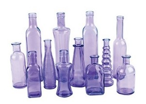24 Purple Glass Bottles Vintage Style Collection Vases