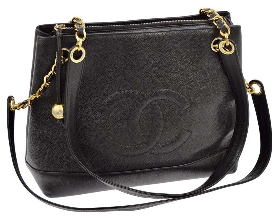 1cd3fa48450c Chanel Tote Cc Black Caviar Leather Shoulder Bag - Tradesy