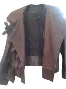 Burberry dark brown Leather Jacket
