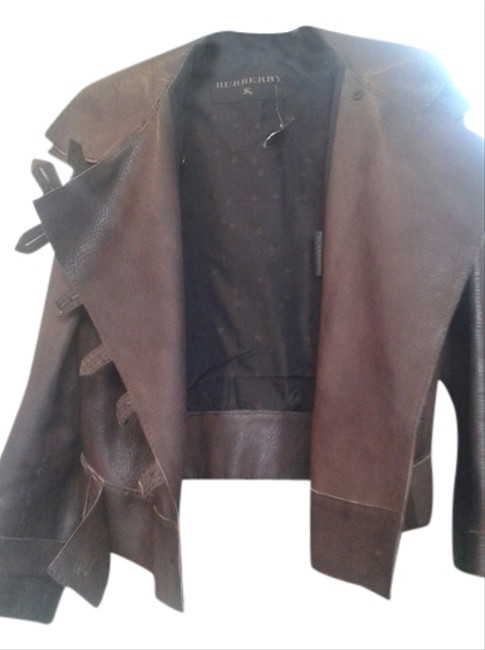 Item - Dark Brown Oversized with High Collar and Built-in Belt Jacket Size 6 (S)