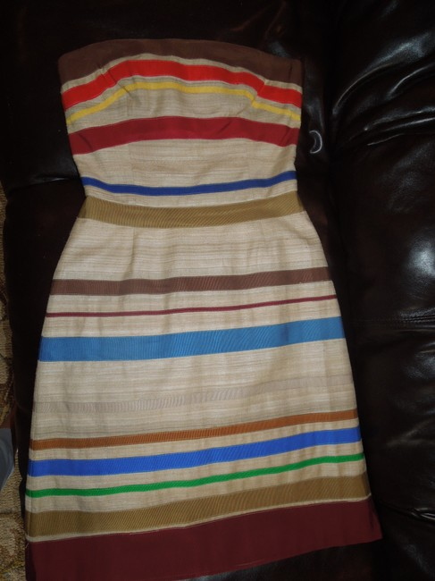 Tracy Reese Silk Cocktail Warm Colors Striped Fall Dress