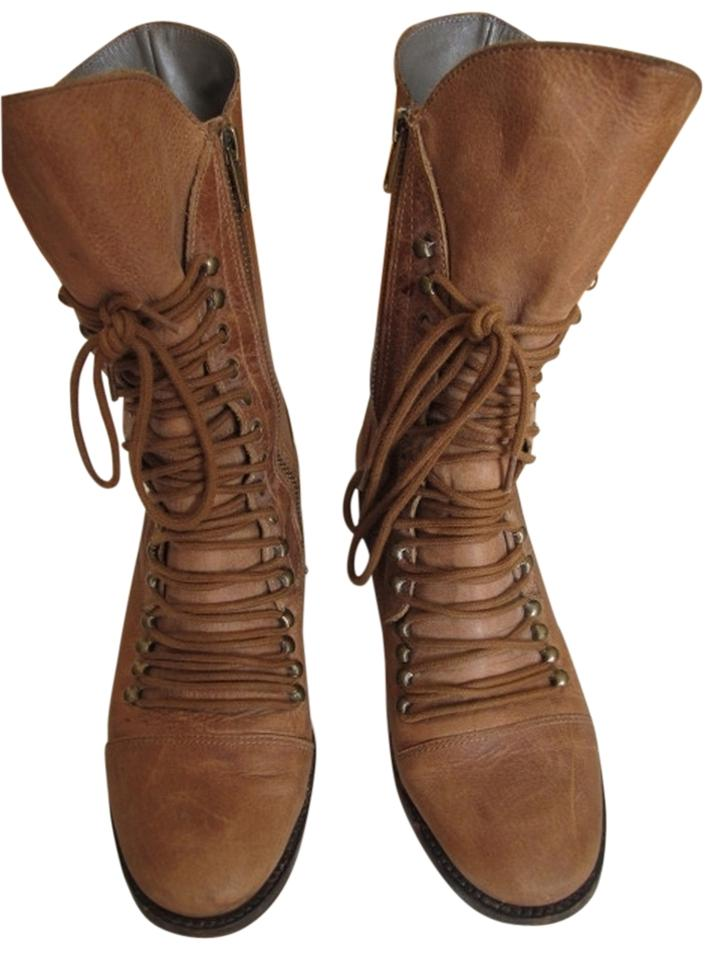 Joie Boots/Booties Brown Leather Leather Combat Boots/Booties Joie c579cf