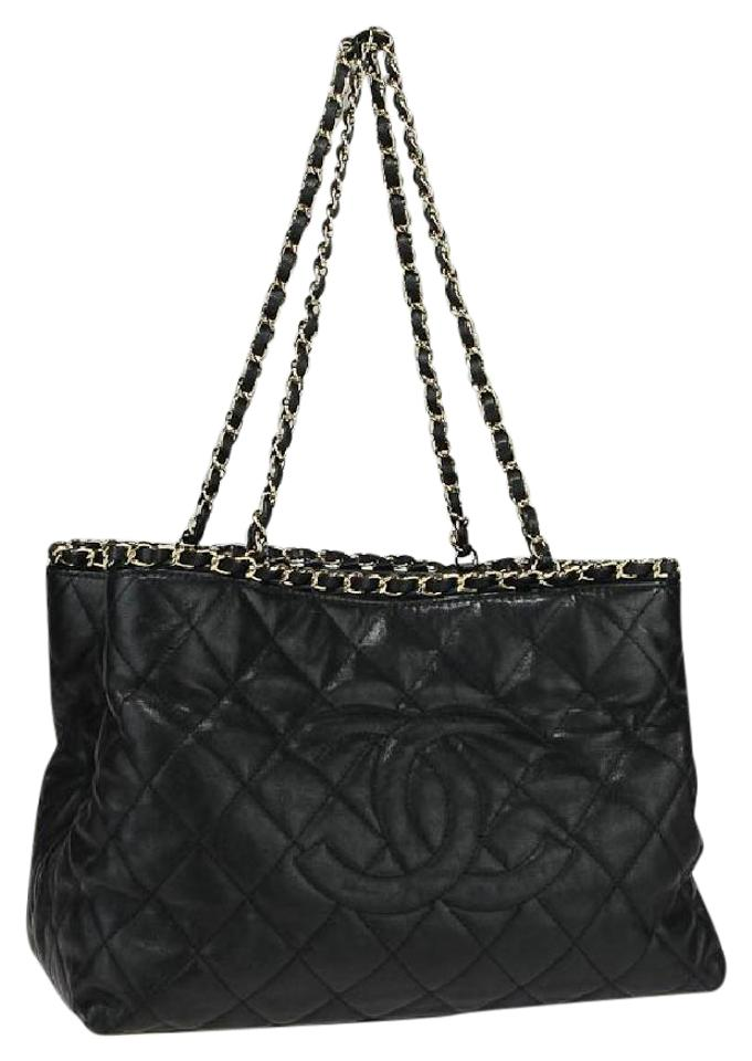 Chanel Quilted Cc Tote Black Leather Shoulder Bag - Tradesy a7fb030d94396