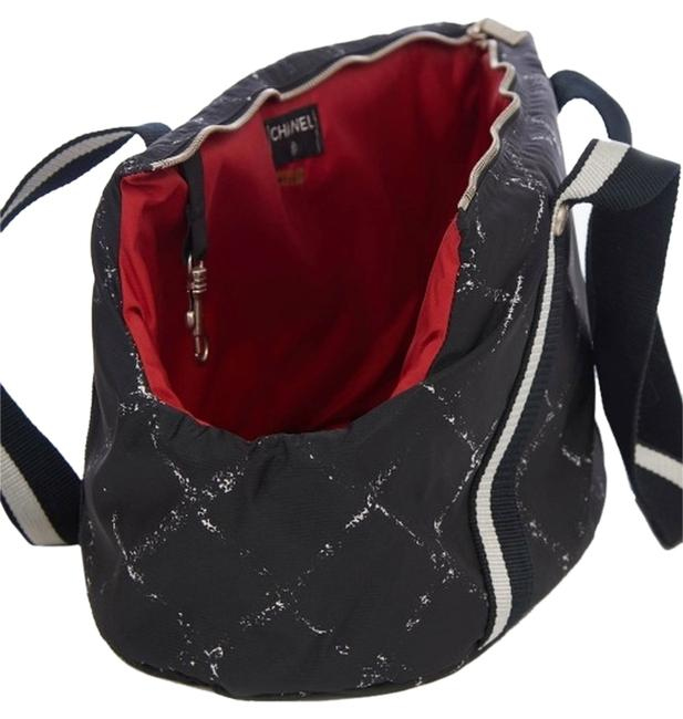 Item - Small Dog Carrier Black and White Red Lining Nylon Weekend/Travel Bag