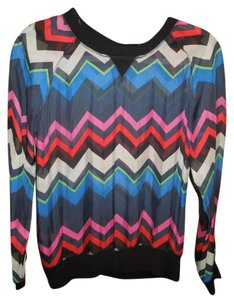L.A.M.B. Silk Dressy Work Play Top Varying blues, green, red, pink and cream - item med img
