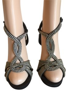 Manolo Blahnik Crystals Chain Suede black Sandals