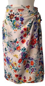 Gucci Silk Skirt Floral with blues, orange, red, purple, yellow and cream