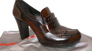 Prada Penny Loafer Spazzolato Antique Finish Brown Platforms