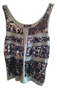 Rock & Republic Sequins Grey Top Sage green