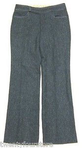 Rebecca Taylor Wool Tweed Bootcut W Whipstitch Detail Pants