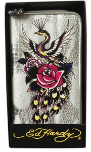 Ed Hardy Zip Around Wallet multi color Clutch