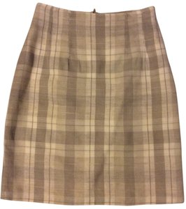 Brooks Brothers Rayon Linen Pencil Skirt Plaid Tan