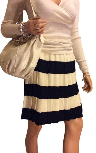 Ann Taylor Pleated Chic Feminine Skirt Ivory And Navy Blue Stripes