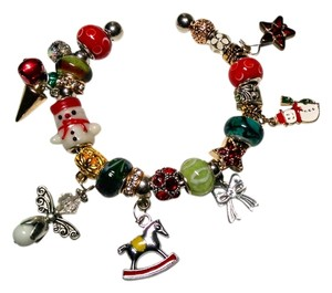 Other Christmas European Charm Bracelet + 20 Charms Bangle J1458