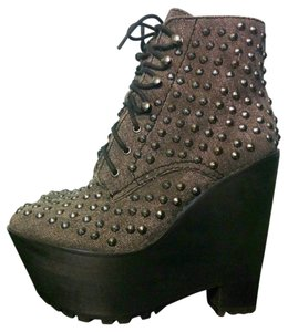 Jeffrey Campbell Studded Black Fabric Pewter Studs Boots