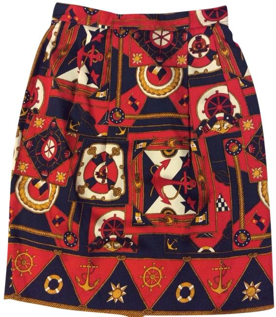 Talbots Straight Sexy Elegant Skirt Red Print