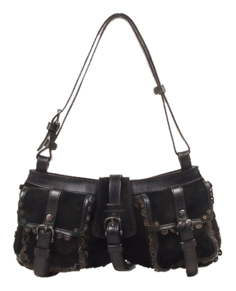 24ded3827adc Burberry Prorsum Leather Grommet Black Suede Shoulder Bag - Tradesy