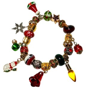 Other Christmas European Charm Bracelet +21 Charms Snowman J1459