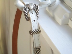 Priced To Sell: White Leather Belt With Silver Buckle