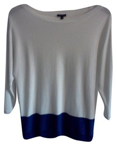 Talbots Top White and Royal Blue Color