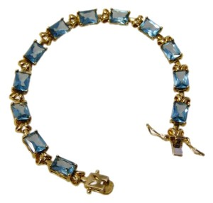 Technibond Technibond Lab Created Blue Topaz Rectangular Gemstone Bracelet 8 Inch