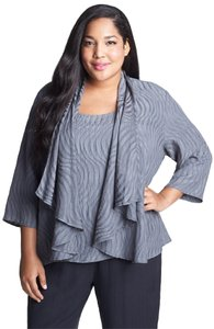 Citron Silk Jacket Work Holiday Top Silver Gray