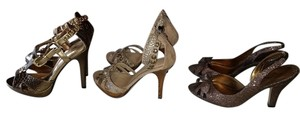 Nina Metallic gold, Bronze and Beige Platforms