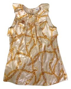 MILLY Silky Chains Ruffles Top Gold