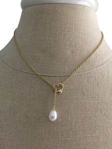 Tiffany & Co. Elsa Peretti's Open Heart Lariat 18K Gold w Cultured Pearl