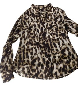 Guess Leopard Fierce Animal Print Silky Button Down Shirt Leopard Print