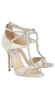 Jimmy Choo Faiza Wedding Crystal Sliver white Sandals