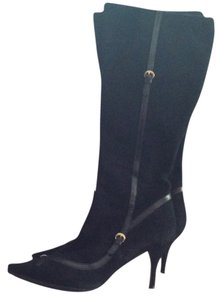 Fendi Suede Soft Leather Low Heel Leather And Metal Decorations Side Zipper Black Boots