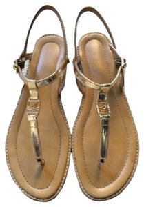 Sperry T-strap Gold Sandals