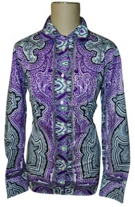 Etro Designer Italian Fitted Tailored Paisley Shirt Blouse Button Down Shirt Purple