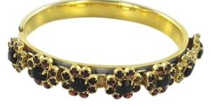 14K SOLID YELLOW GOLD BRACELET GARNETS 7 FLOWERS BANGLE ANTIQUE VINTAGE ESTATE
