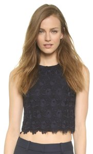 A.L.C. Fall Cute Lace Crop Crew Top Navy