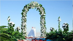 """Silver 7.5"""" 90ft Metal Arch Steel Premium Wedding Bridal Shower Anniversary Special Occasion Indoor Beach Or Park"""