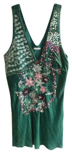 Joy is Happiness Velvet Beads Sequins Tank Top Emerald