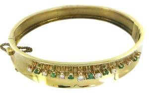 18K SOLID YELLOW GOLD BRACELET 8 DIAMONDS 6 EMERALDS 25.8 GRAMS BANGLE JEWELRY
