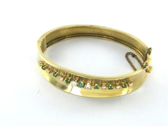 Other 18K SOLID YELLOW GOLD BRACELET 8 DIAMONDS 6 EMERALDS 25.8 GRAMS BANGLE JEWELRY