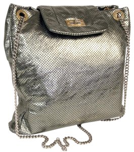 Chanel Jumbo Le Boy Graffiti Woc Leather Tote in Silver